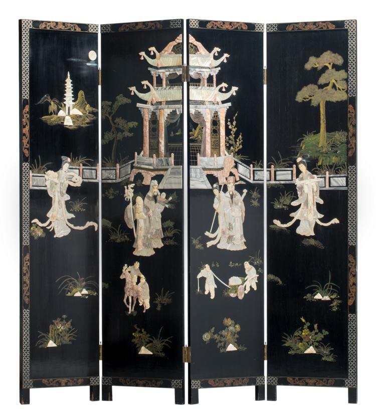 A Chinese polychrome decorated black lacquered four panel screen with mother-of-pearl, bone, ivory and marble inlay, depicting Fu, Lu and Shou Xing in a palace garden, H 183 - W 183 cm