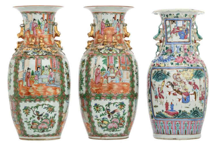 A Chinese famille rose floral decorated vase, the roundels with warriors and court scenes, 19thC; added a pair of similar Cantonese vases, H 44 - 45,5 cm