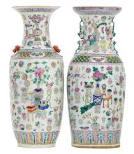 Two Chinese famille rose vases, overall decorated with antiquities, flower branches and auspicious symbols, H 57,5 cm