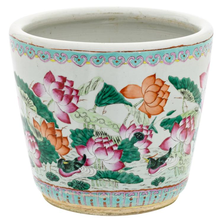 A Chinese famille rose jardiniere, overall decorated with ducks in a lotus pond,H 32 - D 36 cm