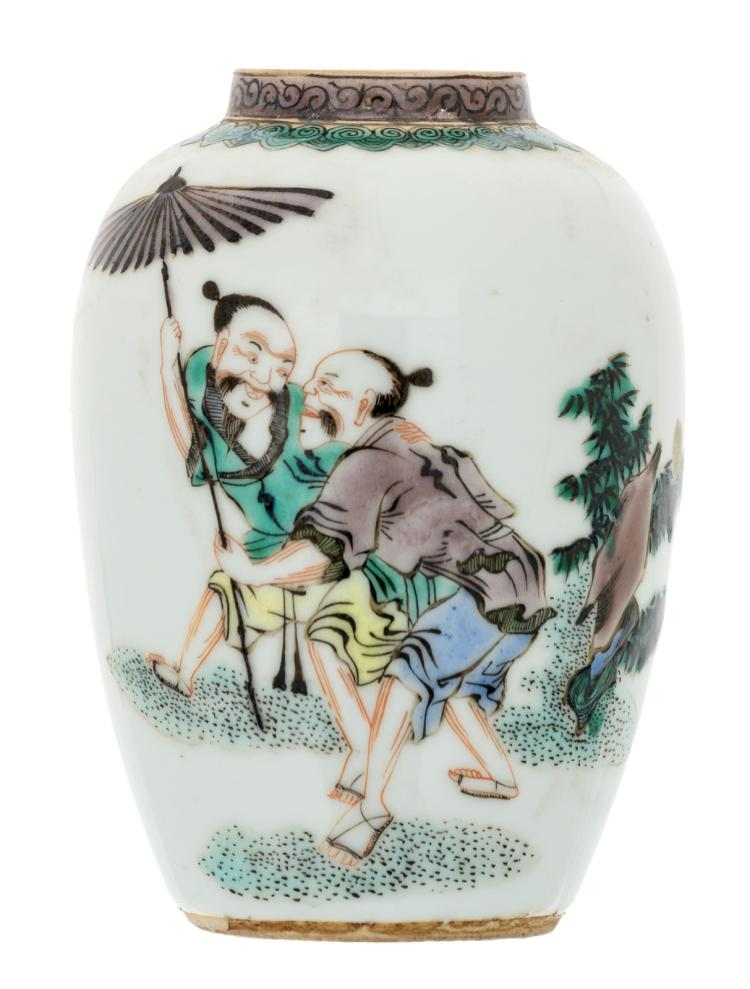 A Chinese famille verte vase, decorated with two figures in a landscape, H 12 cm