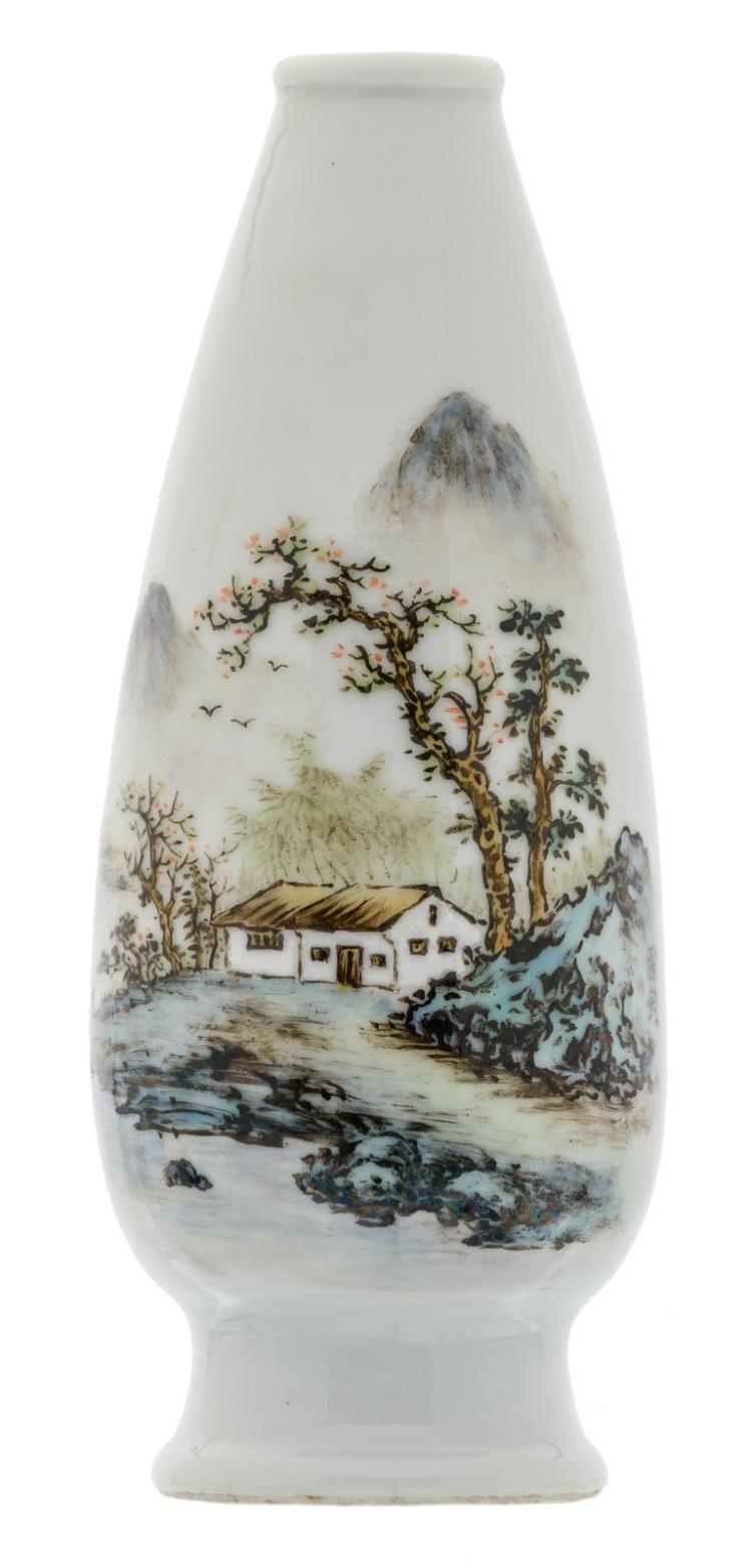A Chinese polychrome decorated miniature vase with a house in a mountainous landscape, 'Guo Jun' marked, H 14,5 cm