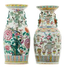 Two Chinese famille rose vases, one decorated with phoenix, birds and flower branches, one decorated with antiquities, 19thC, H 44 - 44,5 cm