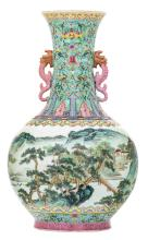 A Chinese famille rose and polychrome decorated bottle vase with a mountainous river landscape, the handles dragon shaped, with a Qianlong mark, H 39 cm