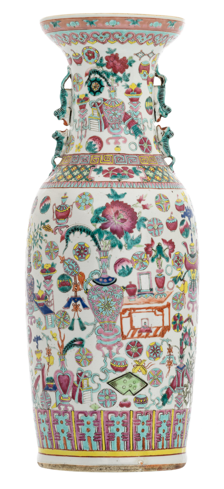 A Chinese famille rose one hundred antiquities decorated vase, 19thC