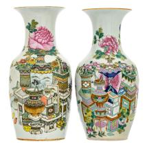 Two Chinese famille rose vases, decorated with antiquities, flower branches and calligraphic texts, 19th - 20thC,H 43,5 - 44 cm
