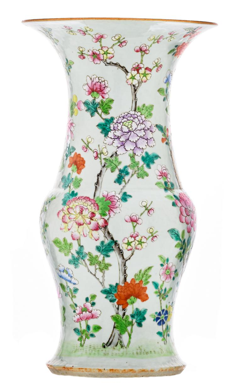 A Chinese famille rose yenyen vase, overall decorated with flower branches, H 39 cm