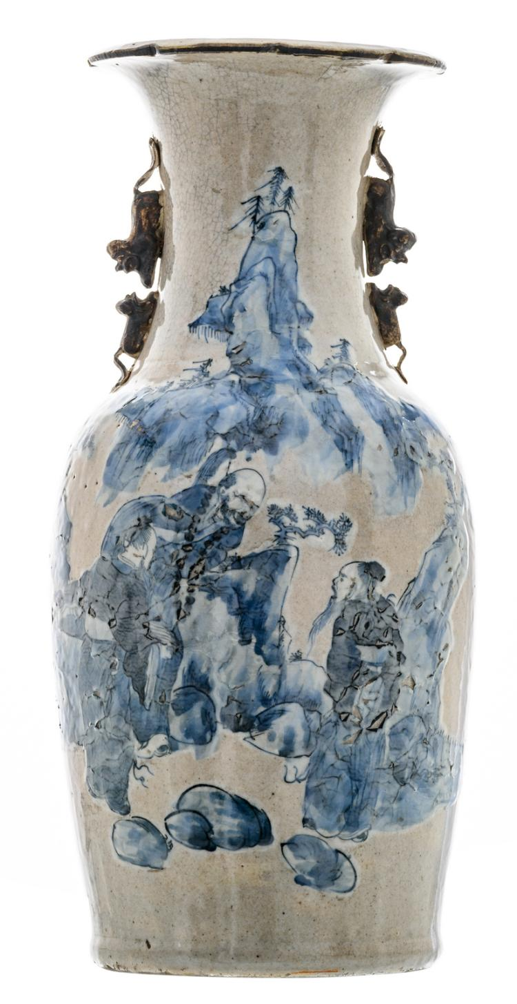A Chinese grey celadon ground blue and white decorated stoneware vase with figures in a mountainous landscape, marked, H 46 cm