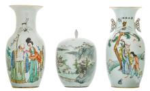 Two Chinese famille rose decorated vases with an animated scene and a calligraphic text; added a ditto ginger jar and cover, polychrome decorated with pagodas in a mountainous river landscape, H 31,5 - 43 cm