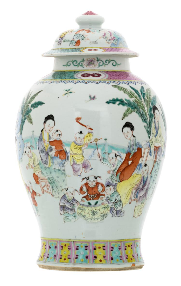 A Chinese overall polychrome decorated vase and cover with ladies and playing children in a garden, 19thC, H 46 cm