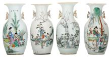 Four Chinese famille rose polychrome decorated vases with ladies and children in a garden and calligraphic texts,H 42,5 - 43,5 cm