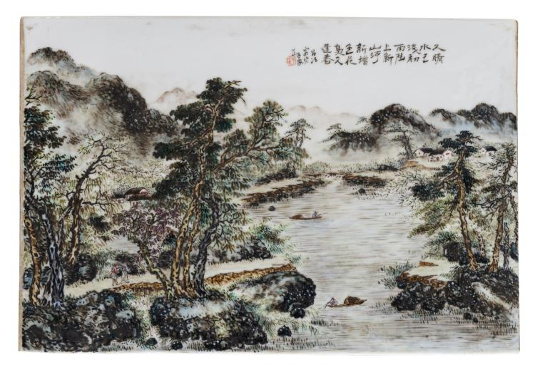 A Chinese polychrome decorated plaque with figures and boats in a mountainous river landscape, marked,26,5 x 39 cm
