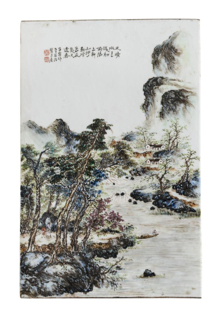 A Chinese polychrome decorated plaque with figures and a boat in a mountainous river, landscape, marked, 26 x 40 cm