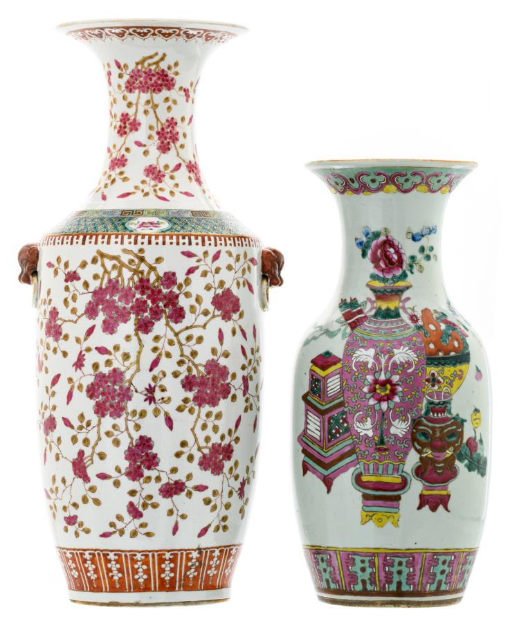 A Chinese famille rose vase, decorated with blossoms, 19thC; added a ditto vase decorated with antiquities and flower branches,H 44,5 - 58 cm