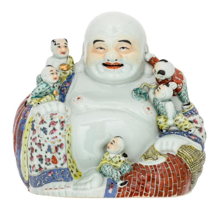 A Chinese polychrome decorated Budai with children, marked, H 25 cm