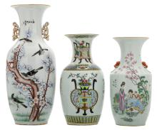 Three Chinese famille rose and polychrome decorated vases with birds and flower branches, a garden scene and antiquities, all vases with a calligraphic text,H 42 - 58 cm
