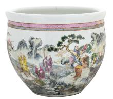 A Chinese famille rose overall decorated jardiniere with deities in a mountainous river landscape, with a Qianlong mark,H 47,5 - ø 57 cm