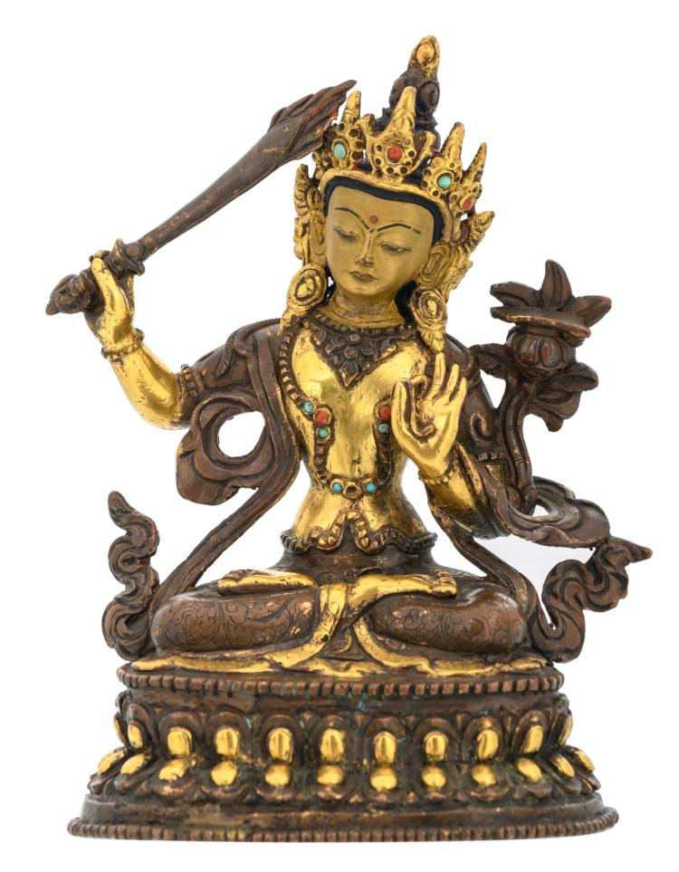 A Sino-Tibetan gilt bronze Manjushri Bodhisattva with precious stones inlay and traces of polychromy,H 15,5 cm