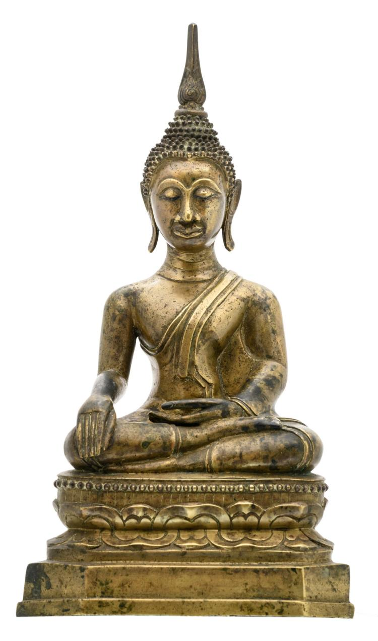 An Oriental bronze seated Buddha with a calligraphic text on the stand, H 34 cm