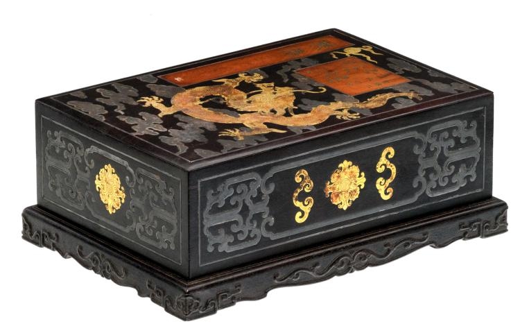 A Chinese zitan wood scholar box, huanghuali wood, gilt brass and silver inlay, Qing dynasty, H 12,3 - W 32,5 - D 22,8 cm