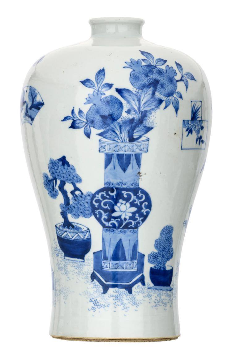 A Chinese blue and white decorated Meiping vase with antiquities and flower branches, H 33 cm