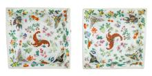 A pair of Chinese famille rose quadrangular plates, decorated with butterflies and flower branches, Jiaqing marked, H 4,5 - W 20,5 - D 20 cm
