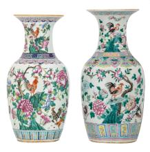 Two Chinese famille rose vases, decorated with cockerels, peaches and flower branches, H 43 - 45 cm