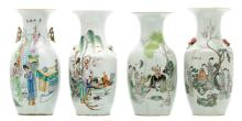 Four Chinese famille rose polychrome decorated vases with various garden scenes and calligrapic texts,H 42 cm