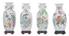 Four Chinese famille rose vases, decorated with animated scenes, some with a calligraphic text and marked, H 25,5 - 27,5 (without base) - 28,5 - 30 cm (with base)