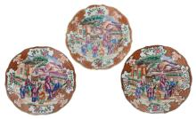 Three Chinese famille rose mandarin export porcelain floral decorated dishes, the medallion with figures and a pavillion in a landscape, 18thC, ø 23 cm