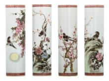 A set of four Chinese famille rose cylindrical vases, decorated with birds and flower branches, signed by the artist, marked, H 19 cm