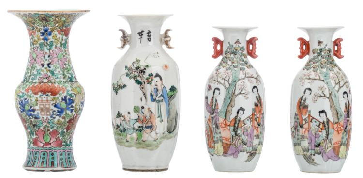 A pair of Chinese polychrome decorated vases depicting a garden scene; added a ditto vase with a calligraphic text; extra added a ditto floral decorated yenyen vase, 19thC, H 21,5 - 23,5 cm