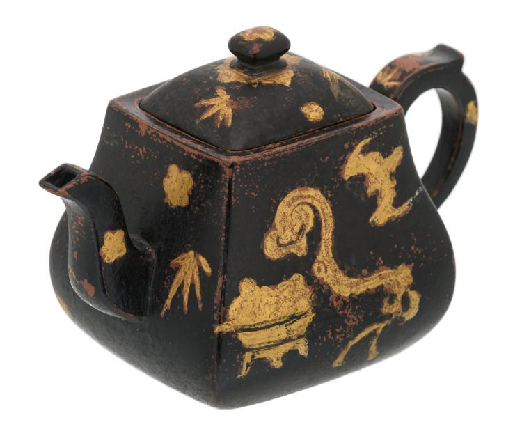 A Chinese black ground and gilt Yixing teapot and cover, decorated with auspicious symbols, marked, H 10 - W 9 - D 8,5 cm