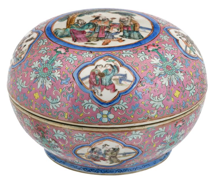 A Chinese rose ground famille rose floral decorated bowl and cover, the roundels with figures in a garden, with a Yongzheng mark, 19thC, H 18,5 - ø 27 cm