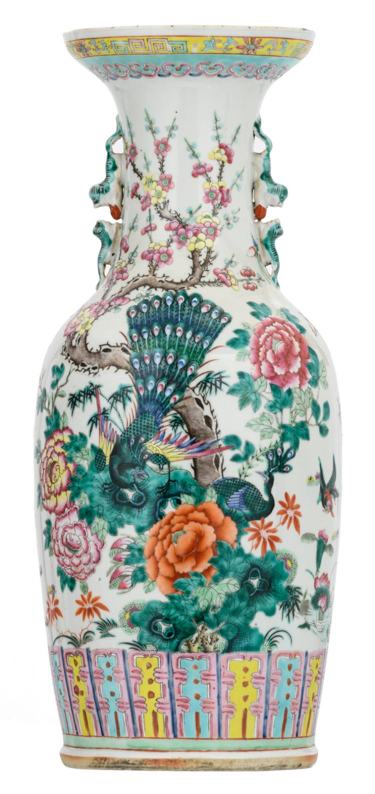 A Chinese famille rose vase, decorated with phoenix, cranes, peacocks and flower branches, H 60 cm