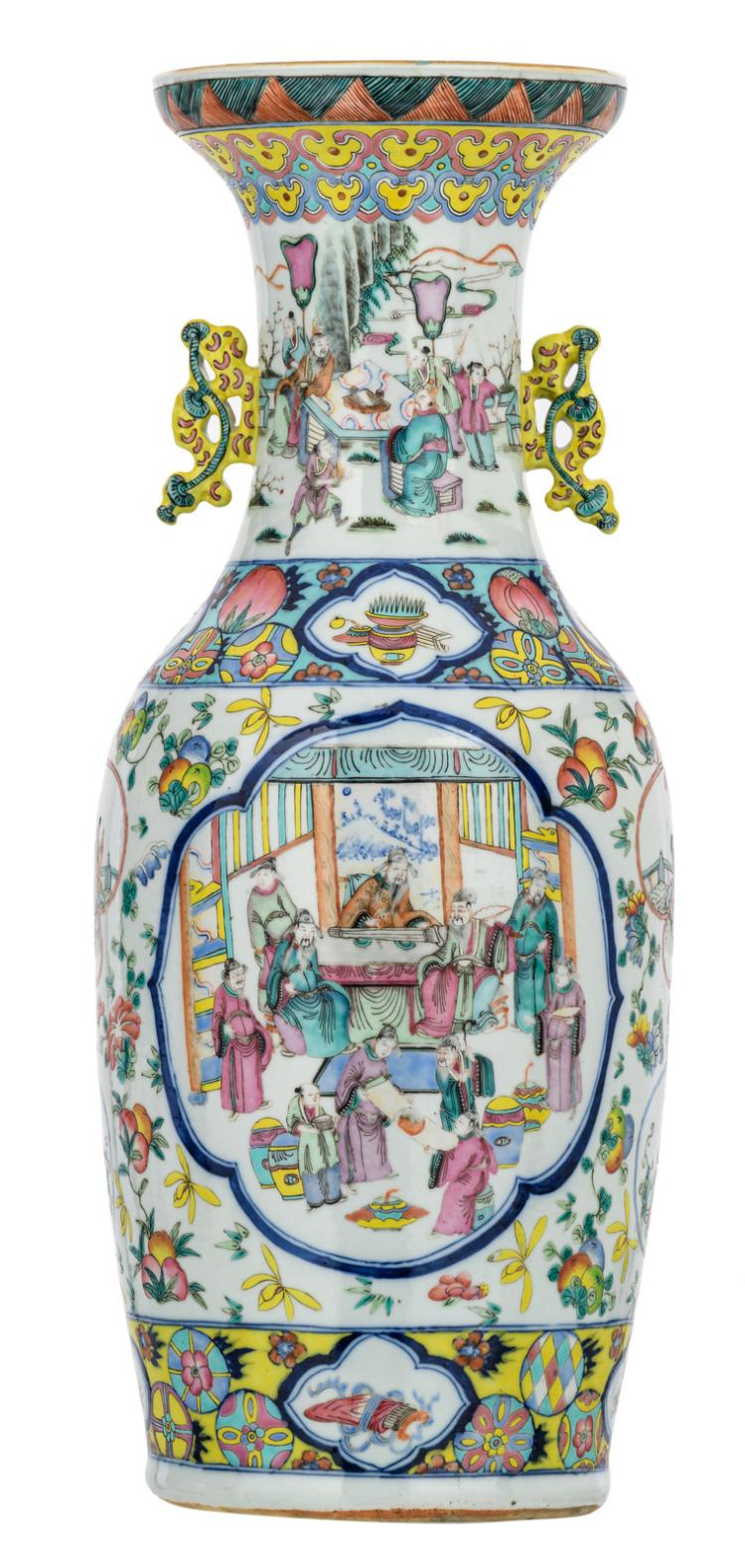 A Chinese famille rose floral decorated vase with auspicious symbols, the roundels with various court and garden scenes, H 60 cm