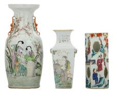 Two Chinese famille rose and polychrome decorated vases with figures in a garden and calligraphic texts, one vase marked; added a ditto hat stand,H 30 - 45 cm