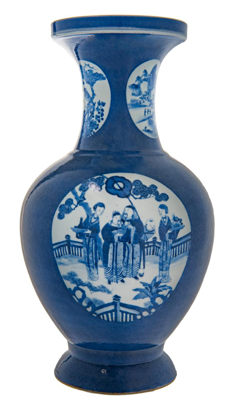 A Chinese bleu poudré baluster shaped vase, the roundels blue and white decorated with garden scenes, a landscape and a bird on a flower branch, H 50 cm