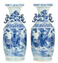 Two Chinese blue and white decorated vases depicting Fu, Lu and Shou Xing in a garden, H 61 cm