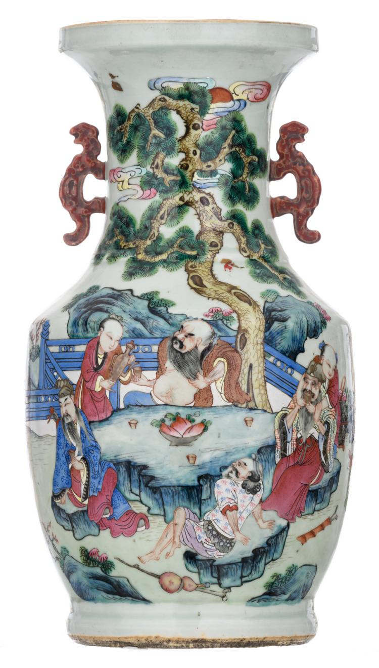 A Chinese famille rose begonia shaped vase, decorated with the Eight Immortals in their habitat, 19thC, H 43,5 cm