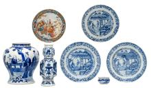 Various Chinese blue and white decorated porcelain items depicting figures in different landscapes, some marked, 18th and 19thC; added a Japanese polychrome and gilt decorated Imari-Arita dish with figures in a landscape, Edo and period, H 3,5 - 23 - ø 7 - 23,5 cm