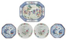 A Chinese octagonal blue and white and sur décoré plate depicting a garden scene, 18thC; added two ditto dishes; extra added two famille rose floral decorated dishes, 18thC, 34 x 41 - ø 23 - 23,5 cm