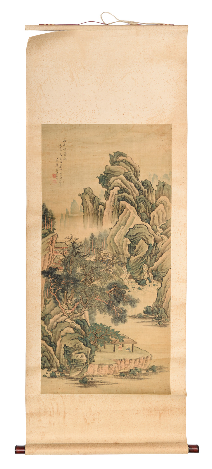 A Chinese scroll, watercolour on textile, depicting figures and pavillions in a mountainous river landscape, signed Jang Bao Ling, 52 x 108,5 (without mount) - 64,5 x 166 cm (with mount)