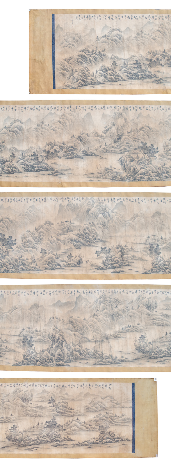 An exceptional Chinese scroll depicting figures in a vast mountainous river landscape, with a calligraphic text, signed, ink on paper on textile, 140 x 1040 (without mount) - 158 x 1086 cm (with mount)