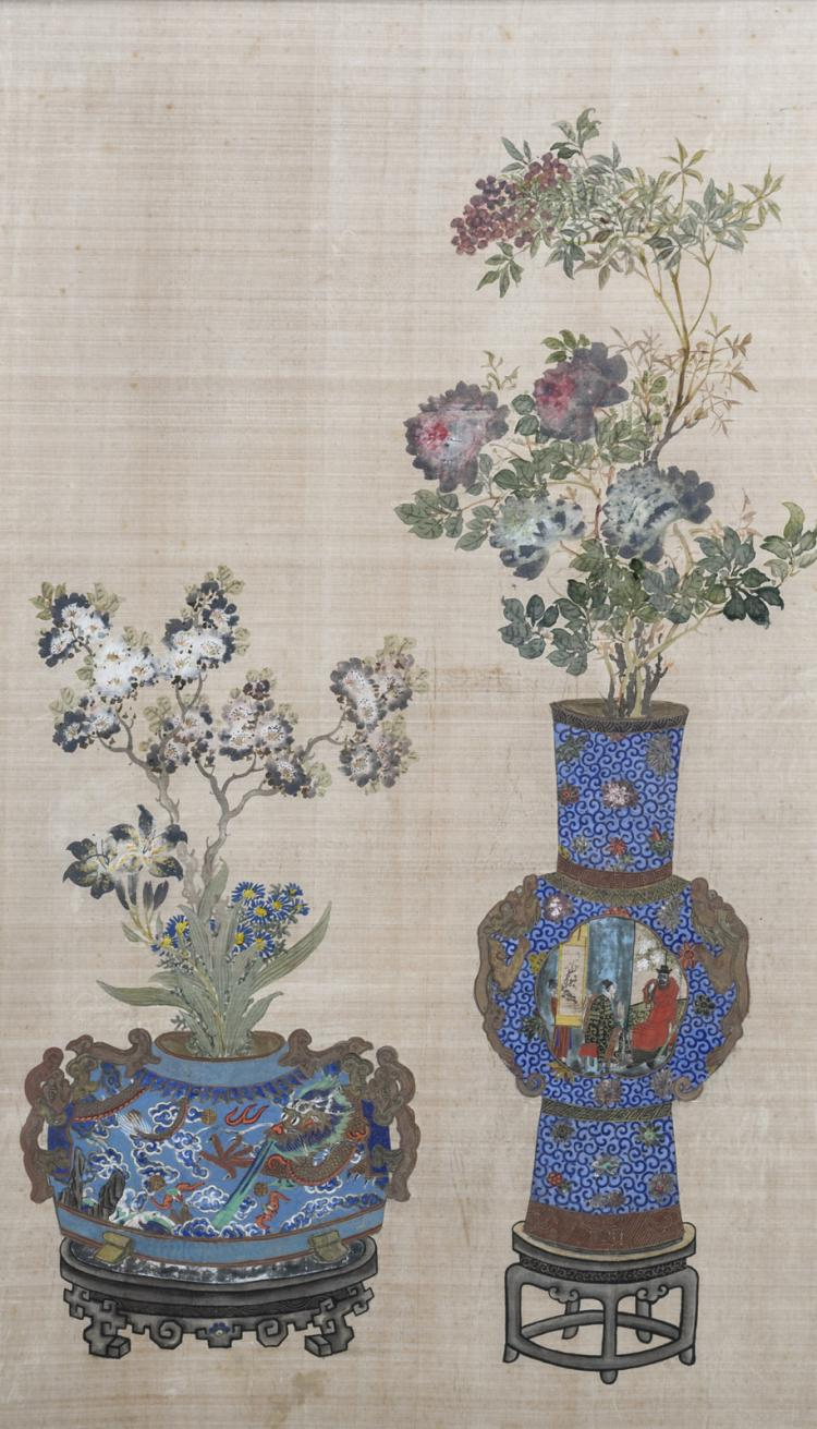 A Chinese late Qing period scroll depicting a still life, watercolour on textile, 41,5 x 71 cm (framed)
