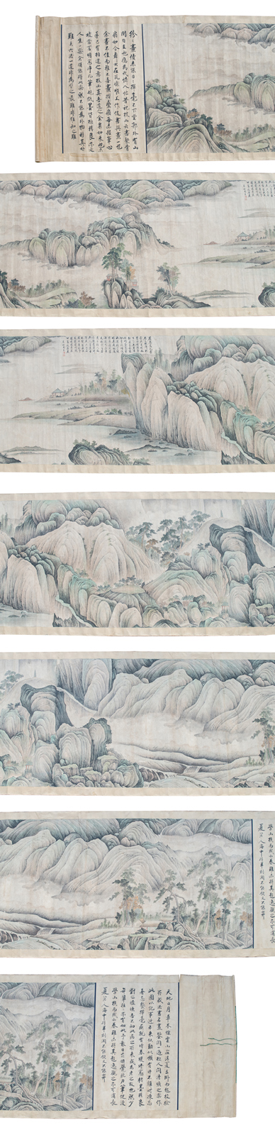 An exceptional Chinese scroll depicting a fishing boat, pagodas and pavillions in a vast mountainous river landscape, with calligraphic texts, signed, ink and watercolour on paper on textile, 142 x 1250 ( without mount) - 160 x 1335 cm (with mount)