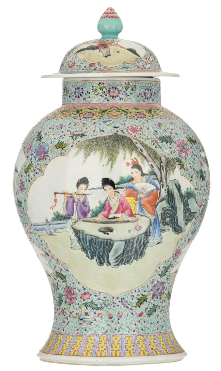 A Chinese turquoise ground famille rose floral decorated vase, the roundels with gallant scenes, with a Qianlong mark, H 48,5 cm