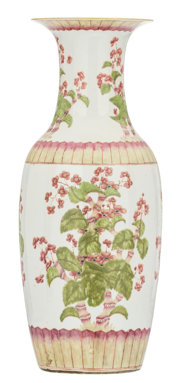 A Chinese famille rose overall floral decorated vase with blossoms, H 61 cm