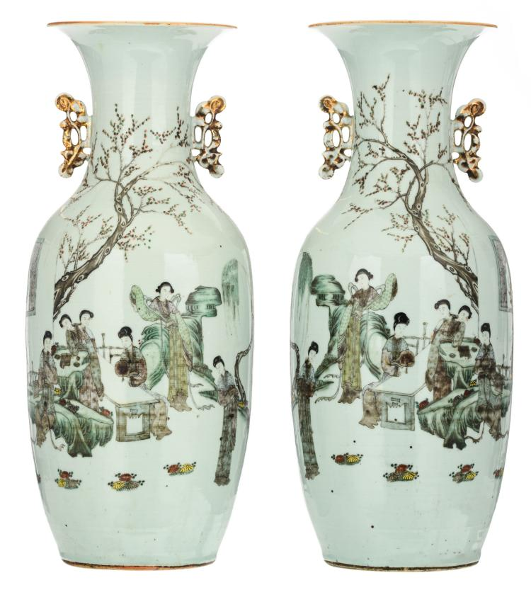 A pair of Chinese polychrome decorated vases with a gallant garden scene and calligraphic texts, H 57,5 cm