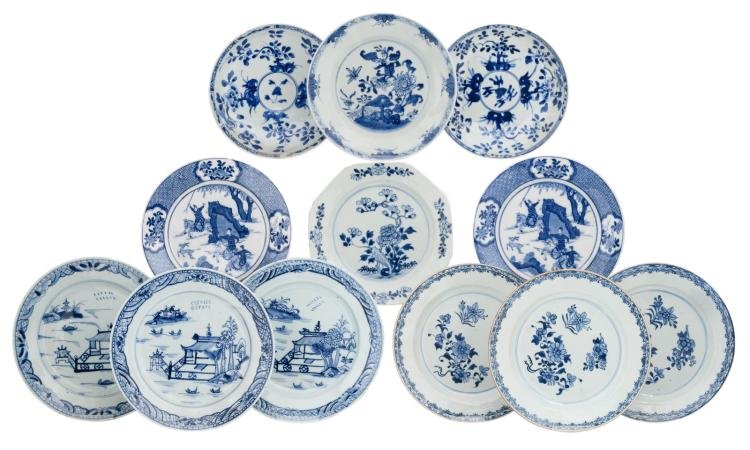 A various of Chinese blue and white floral decorated export porcelain dishes, two dishes with a hunting scene and three dishes with a mountainous river landscape, two dishes marked, 18th and 19thC, ø 22- 24 cm